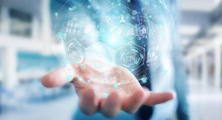 Businessman on blurred background using holograms datas digital sphere 3D rendering Stock Photo