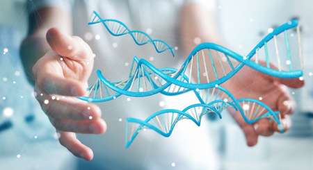 Businessman on blurred background using modern DNA structure 3D rendering