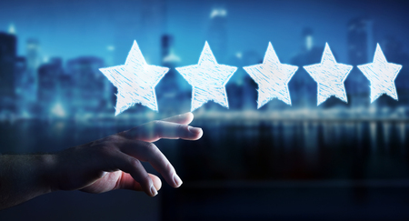 Businessman on blurred background rating with hand drawn stars