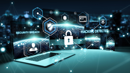 Antivirus interface over modern tech devices in dark background 3D rendering Stock Photo - 87918043