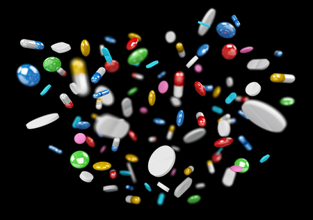 Floating medicine pills and drugs on black background 3D rendering Stock Photo
