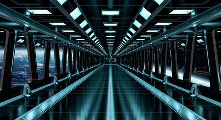 Spaceship black corridor with view on space and planet Earth 3D rendering elements