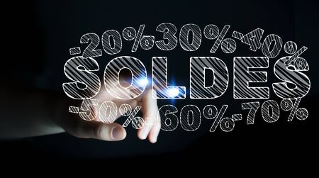 Businesswoman on blurred background touching sales icons with her finger 3D rendering