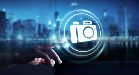 Businessman on blurred background using modern camera application 3D rendering Stock Photo