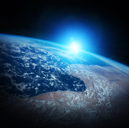 galactic: Sunrise on Earth from space 3D rendering