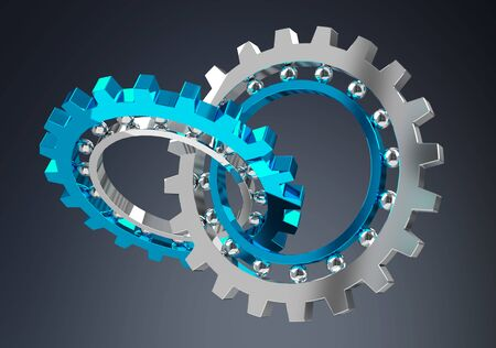 Floating modern gear mechanism on grey background 3D rendering