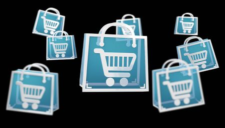 Digitale winkelende pictogrammen die bij het zwarte 3D teruggeven worden geïsoleerd als achtergrond Stockfoto