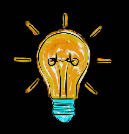 Hand drawn lightbulb sketch on black background