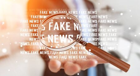 opinions: Businessman on blurred background discovering fake news information 3D rendering