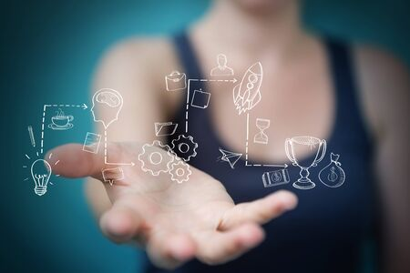 Businesswoman on blurred background using manuscript project presentation with her hand Stock Photo