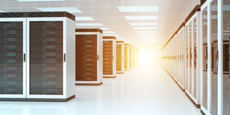 Bright server room data center storage interior 3D rendering Foto de archivo