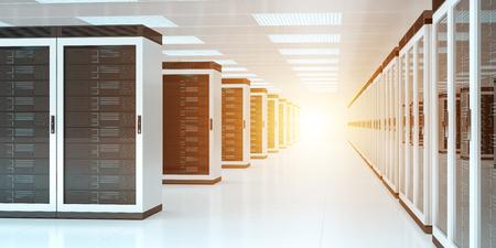 Rendu 3D intérieur de stockage de centre de données de pièce de serveur lumineux