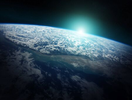 Sunrise on Earth from space 3D rendering