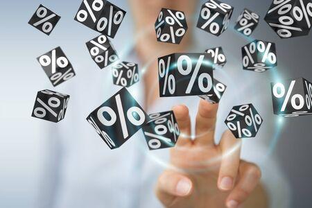Imprenditrice su sfondo sfocato che gode di nero Venerdi vendita rendering 3D