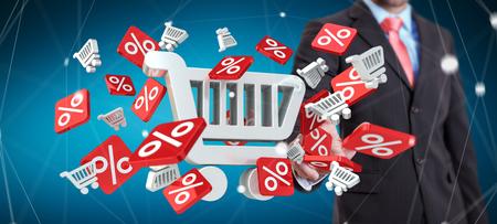 Zakenman op onscherpe achtergrond te raken verkoop pictogrammen met zijn vinger 3D-rendering Stockfoto