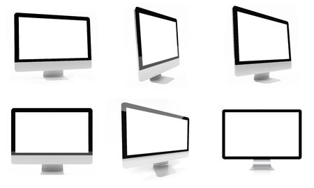 Modern digital silver computer collection on white background 3D rendering Stock Photo
