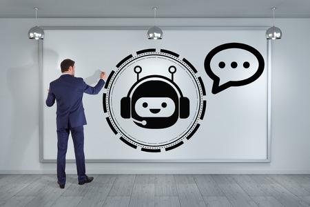 gente comunicandose: Hombre de negocios en interior moderno usando la aplicación de chatbot en una representación 3D del tablero