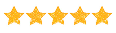 Five gold stars raking illustration on white background