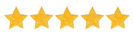 Five gold stars raking illustration on white background