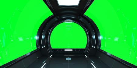 Spaceship dark interior with green window view 3D rendering