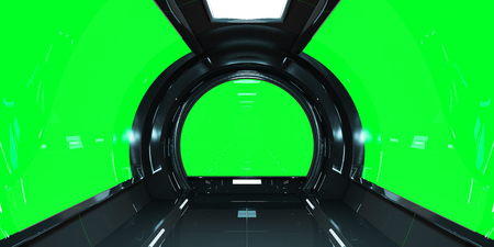 Spaceship dark interior with green window view 3D rendering