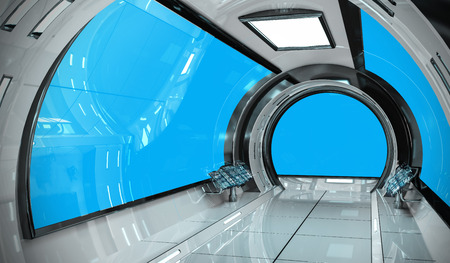 Spaceship bright interior with blue window view 3D rendering