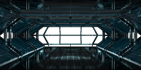 Spaceship dark interior with white window view 3D rendering