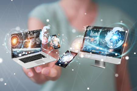 Tech devices connected to each other by businesswoman on blurred background 3D rendering