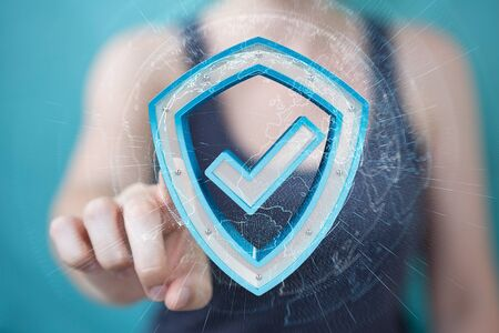 Businesswoman on blurred background using modern data shield antivirus 3D rendering