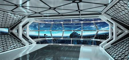 Spaceship interni luminosi con vista sul pianeta Terra Rendering 3D Archivio Fotografico