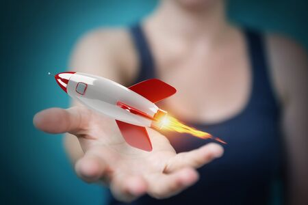 Businesswoman on blurred background holding and touching a rocket 3D rendering