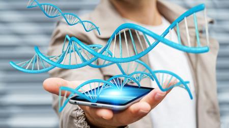 Businessman on blurred background using modern DNA structure 3D rendering