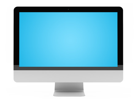 Modern digital silver and black computer screen on white background 3D rendering Stock Photo