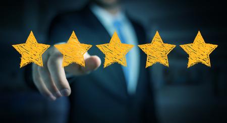手描きの星とぼやけた背景の評価にビジネスマン 写真素材