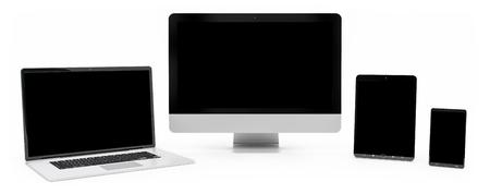 Modern digital silver tech device on white background 3D rendering