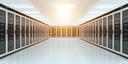 Bright server room data center storage interior 3D rendering Standard-Bild
