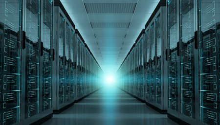 Dark server room data center storage interior 3D rendering Imagens - 88790162