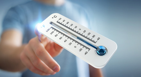 Businessman checking the temperature drop with a thermometer 3D rendering
