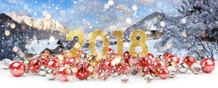 2018 new year eve with red and white christmas baubles 3D rendering Stock Photo