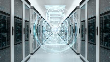 白と青のファイアウォール サーバー ルーム データ センター 3 D レンダリングでアクティブ化
