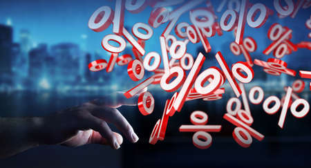 Businesswoman on blurred background using white and red sales flying icons 3D rendering