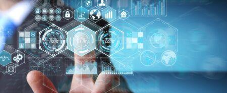 Geschäftsmann auf unscharfem Hintergrund unter Verwendung der Hologrammdaten auf digitaler Wiedergabe der Bildschirme 3D
