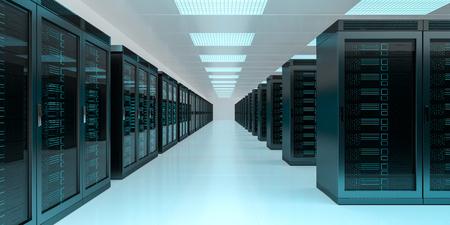 Bright server room data center storage interior 3D rendering Stock Photo