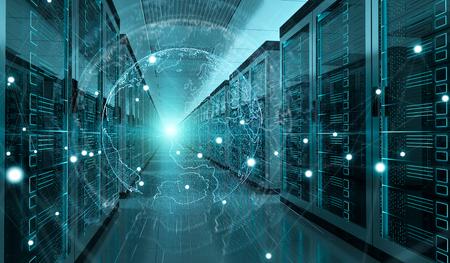 Digital white Earth network flying over server room data center 3D rendering Stock Photo