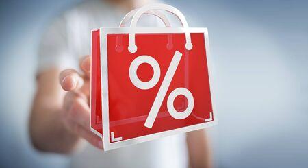 Businessman on blurred background enjoying black Friday sales 3D rendering Stock Photo