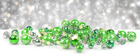 Green and white christmas baubles on snowy background 3D rendering