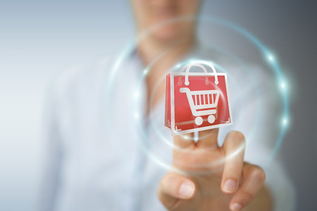 Businesswoman on blurred background using digital shopping icons 3D rendering