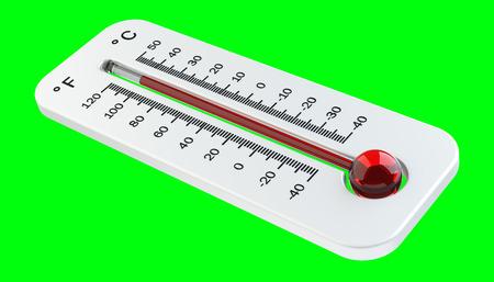 Termómetro con subida roja de la temperatura en la representación verde del fondo 3D Foto de archivo