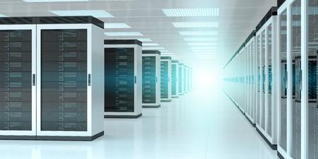 Bright server room data center storage interior 3D rendering Фото со стока