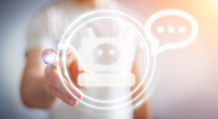 Chatbot 응용 프로그램의 3D 렌더링으로 채팅 배경 흐리게에 사업가 스톡 콘텐츠 - 89006535
